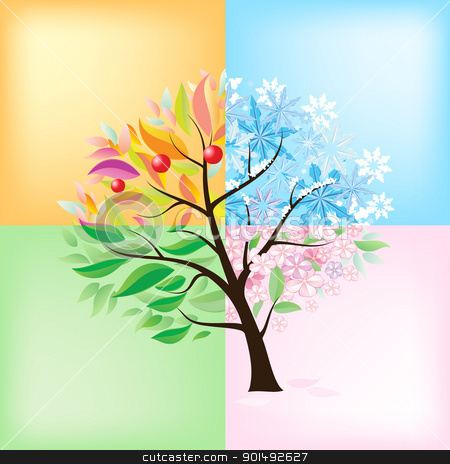 Four Seasons Tree stock photo, Four Seasons Tree. Illustration on white background  by dvarg