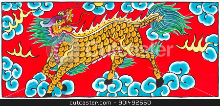 Traditional Thai style painting art Horse head Dragon   stock photo, Traditional Thai style painting art Horse head Dragon  on temple wall,Thailand.Generality in Thailand, any kind of art decorated in Buddhist church etc. created with money donated by people, no restrict in copy or use. by stoonn