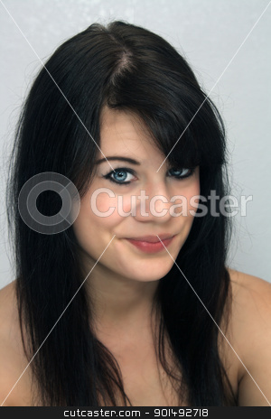Beautiful Young Brunette, Headshot (8) stock photo, A studio close-up of a lovely young brunette with a captivating smile. by Carl Stewart