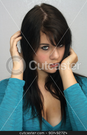 Beautiful Young Brunette, Headshot (13) stock photo, A studio glamour close-up of a lovely young brunette. by Carl Stewart