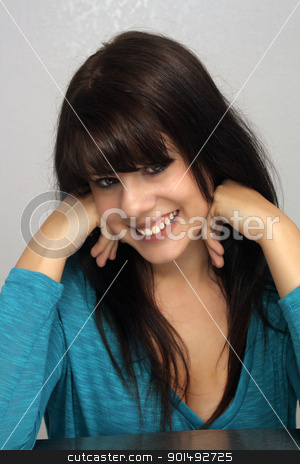 Beautiful Young Brunette, Headshot (14) stock photo, A studio close-up of a lovely young brunette with a captivating smile. by Carl Stewart