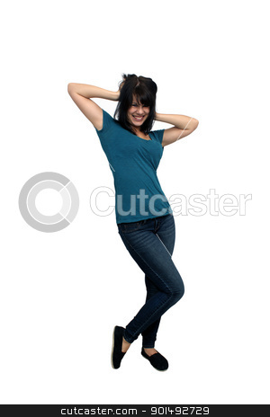 Beautiful Casual Brunette (4) stock photo, A lovely young brunette wearing casual wardrobe, full-length, isolated on a white background with generous copyspace. by Carl Stewart