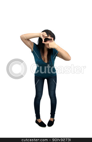Beautiful Casual Brunette (6) stock photo, A lovely young, playful, brunette wearing casual wardrobe, full-length, isolated on a white background with generous copyspace. by Carl Stewart