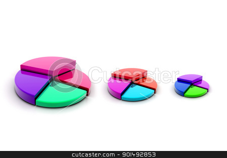 3d multi use pie chart graph in white background stock photo, 3d multi use pie chart graph in white background by dileep