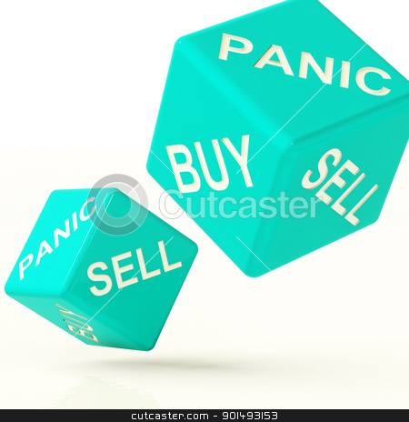 Buy Panic And Sell Dice Representing Market Turmoil stock photo, Buy Panic And Sell Blue Dice Representing Market Turmoil by stuartmiles