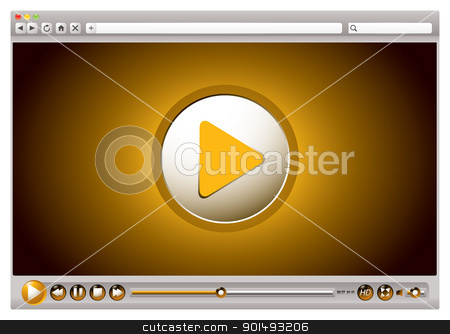 Internet video browser controls stock vector clipart, Internet browsers with video controls and play back interface by Michael Travers