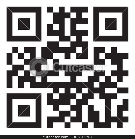 Qr code stock vector clipart, sample qr code ready to scan with smart phone by Michael Travers