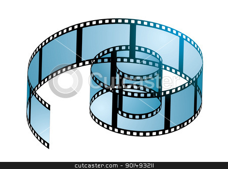 Film reel curl stock vector clipart, Old film strip in a spiral curl with blue light by Michael Travers
