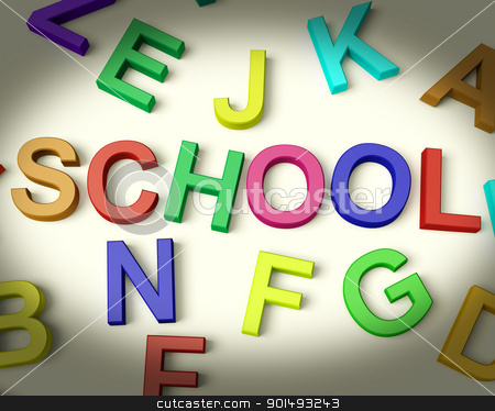School Written In Plastic Kids Letters stock photo, School Written In Multicolored Plastic Kids Letters by stuartmiles