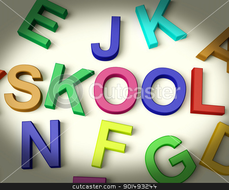 Skool Written In Plastic Kids Letters stock photo, Skool Written In Multicolored Plastic Kids Letters  by stuartmiles