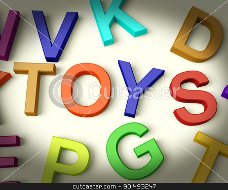 Toys Written In Plastic Kids Letters stock photo, Toys Written In Multicolored Plastic Kids Letters by stuartmiles