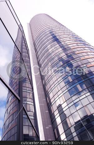Glass high skyscraper modern city architecture  stock photo, Glass high skyscraper. Modern city architecture background.  by sauletas