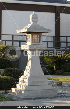 Japanese Stone Pagoda stock photo, Japanese Stone Pagoda somewhere downtown Los Angeles by Henrik Lehnerer