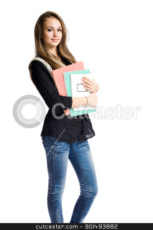 Charming young student girl. stock photo, Charming young student girl holding exercise books. by exvivo