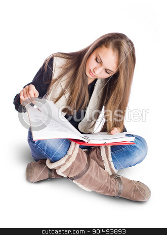 Attractive student girl studying. stock photo, Portrait of an attractive brunette student girl studying. by exvivo