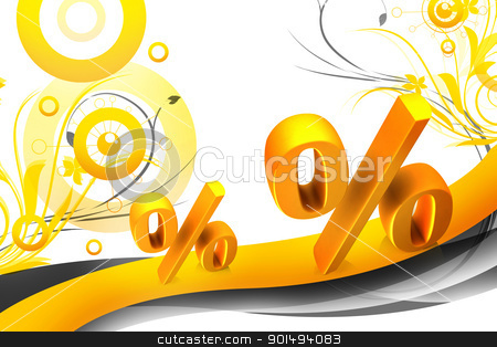 High quality rendering of 3d percentage symbol in color background stock photo, High quality rendering of 3d percentage symbol in color background by dileep