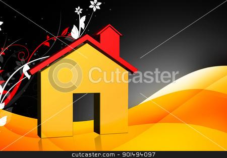 Digital illustration of real estate symbol in color background stock photo, Digital illustration of real estate symbol in color background by dileep