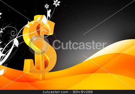 High quality rendering of 3d Dollar sign in digital color background stock photo, High quality rendering of 3d Dollar sign in digital color background by dileep