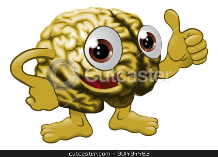 Brain cartoon character illustration stock vector clipart, Illustration of a brain cartoon character giving a thumbs up sign  by Christos Georghiou