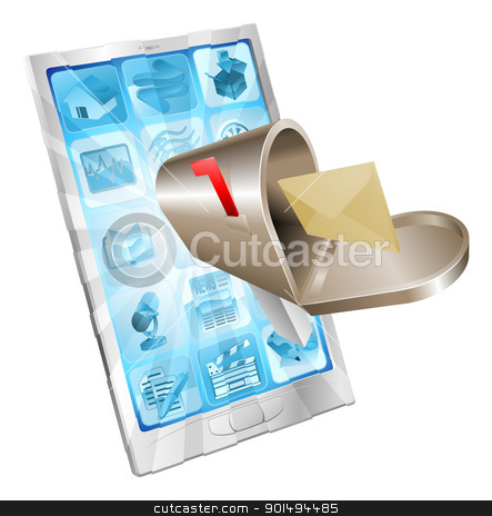 Letter mailbox flying out of phone screen concept stock vector clipart, Letter and mailbox flying out of phone screen concept illustration. by Christos Georghiou