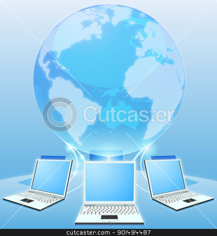 Computer network world concept stock vector clipart, Laptop computers connected via world globe network internet computing concept by Christos Georghiou
