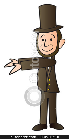 Abraham Lincoln Cartoon stock vector clipart, A cartoon version of Abraham Lincoln with his arms out presenting something. by Jamie Slavy