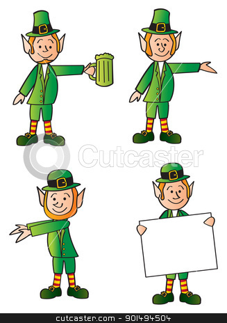 Four Leprechauns stock vector clipart, Four cartoon leprechauns in various poses. by Jamie Slavy