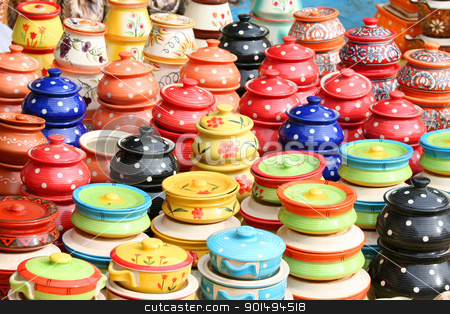 Colorful clay pots stock photo, Colorful hand made parts  by Sreedhar Yedlapati