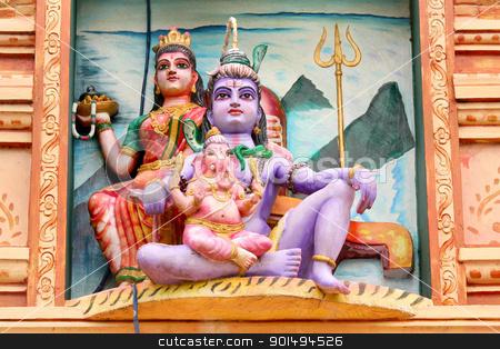 Hindu gods stock photo, Hindu god lord Shiva, Godess Parvathi and Ganeha statues by Sreedhar Yedlapati