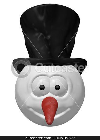 snowman stock photo, funny snowman head - 3d cartoon illustration by J?