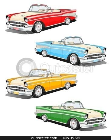 Classic car set stock photo, Set of four classic car illustration by Sreedhar Yedlapati