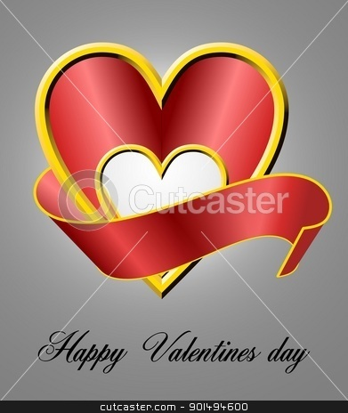 Valentines day card stock photo, Shiny 3d heart shape with ribbon by Sreedhar Yedlapati