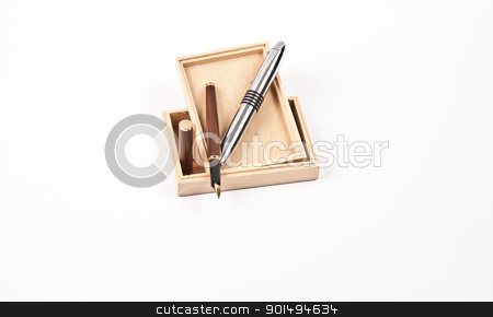 tools for writer stock photo, wooden box, ballpoint pen and fountain pen by burnel11
