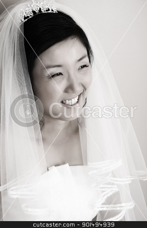 Beautiful Bride stock photo, Beautiful Korean bride wearing a traditional wedding gown by Vanessa Van Rensburg