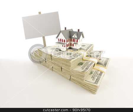 Small House on Stacks of Hundred Dollar Bills and Blank Sign stock photo, Stacks of One Hundred Dollar Bills with Small House and Blank Sign on Slight Gradation. by Andy Dean