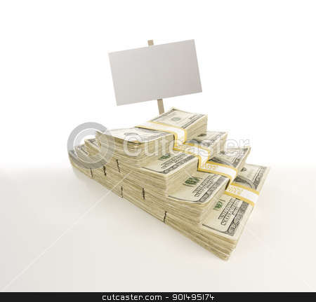 Stacks of One Hundred Dollar Bills with Blank Sign on Gradation stock photo, Stacks of One Hundred Dollar Bills with Blank Sign Isolated on Gradation. by Andy Dean