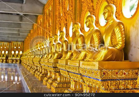 Buddha golden image stock photo, Buddha golden image in row by stoonn