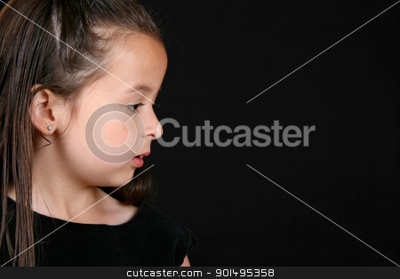 Serious girl stock photo, Serious little brunette girl against a black background by Vanessa Van Rensburg