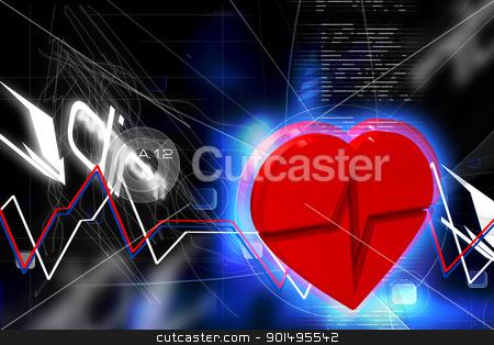 Digital illustration of heart ECG in color background stock photo, Digital illustration of heart ECG in color background by dileep