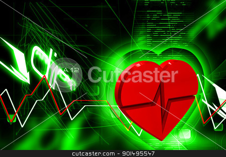 Digital illustration of heart ECG in color background stock photo, Digital illustration of heart ECG in color background by dileep