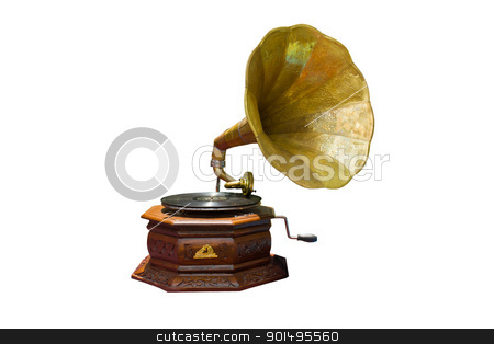 Gramophone  stock photo, photo of retro gramophone with disc isolated by stoonn