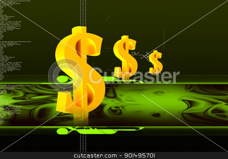 Digital illustration of dollar sign in colour background stock photo, Digital illustration of dollar sign in colour background by dileep
