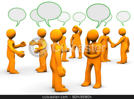 Forum stock photo, Orange cartoons with green speak bubbles, on white background. by Alexander Limbach