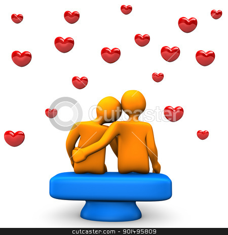 Love stock photo, Two orange toons in love with red hearts. by Alexander Limbach