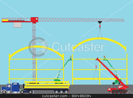Construction Site stock vector clipart, A Construction Site with Tower Crane Cherry Pickers Mobile Crane and Semi Trailer Loaded with Girders by d40xboy