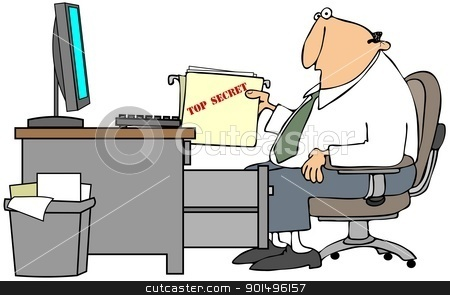 Top Secret File stock photo, This illustration depicts a man at a desk holding a top secret file. by Dennis Cox