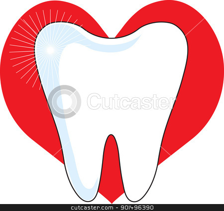 Love My Tooth stock vector clipart, A sparking image of a healthy molar, set on a red heart background. by Maria Bell