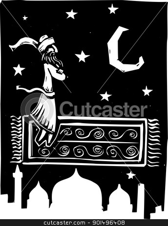 Flying Carpet stock vector clipart, Man on flying carpet over middle eastern city. by Jeffrey Thompson
