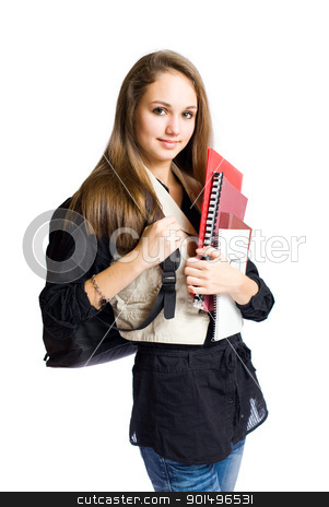 Gorgeous high school student. stock photo, Portrait of a gorgeous brunette high school student girl. by exvivo