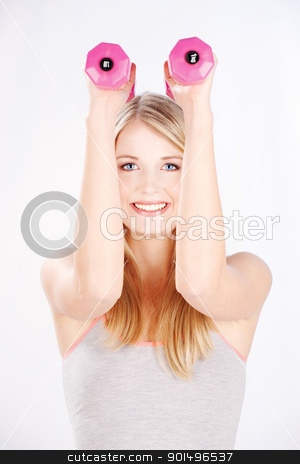 fitness exercises stock photo, Young woman doing fitness exercises by iMarin